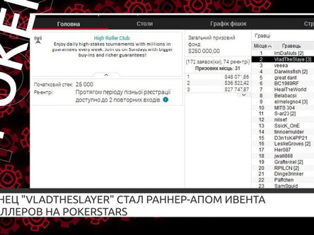 "Украинец ""VladTheSlayer"" стал раннер-апом ивента хайроллеров на PokerStars"