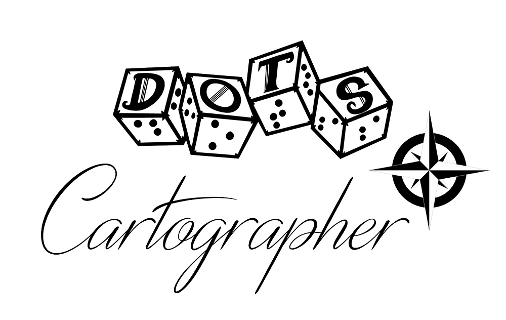 DOTS Cartographer logo: DOTS logo of 4d6 with letters and braille on each face. Text Cartographer in script next to a compass rose.