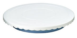 Cake decorating whirler plastic white scallop edge