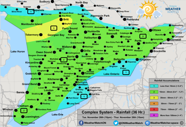 Rainfall Forecast, for Southern Ontario. Issued November 27th, 2019.