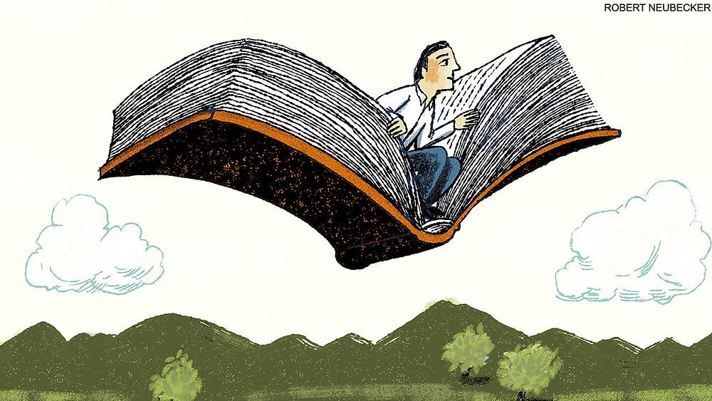 man flying on a book by robert neubecker