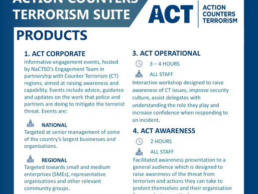 Action Counters Terrorism (NaCTSO) and Couter Terrorism Preparedness Network (CTPN) information