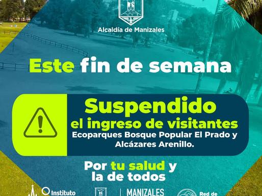 SUSPENDIDO EL INGRESO ESTE FIN DE SEMANA A LOS ECOPARQUES BOSQUE POPULAR Y ALCÁZARES