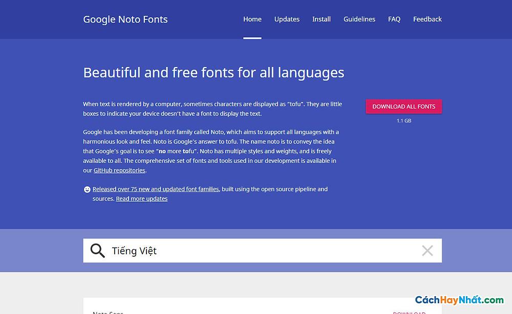 Download font Noto By Google Siêu Khủng