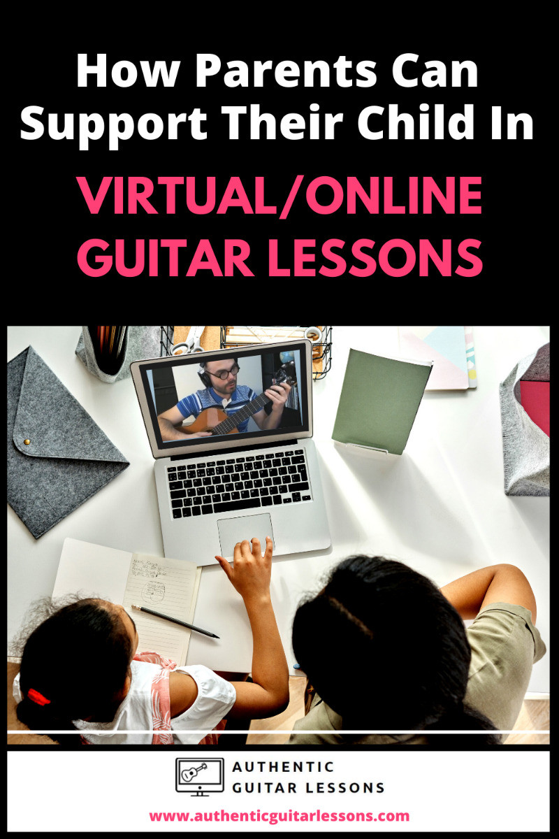 Young Girl and Mother are sitting at a computer watching Sanel (teacher) teach a guitar lesson online (live)..