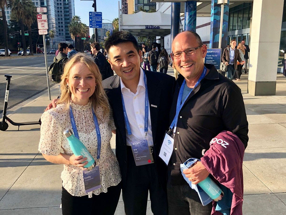 Eric Yuan hosting Zoomtopia with Jim Scheinman and his wife Emily.