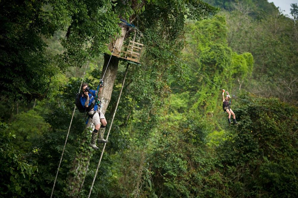 Zipliners at Finca Bellavista