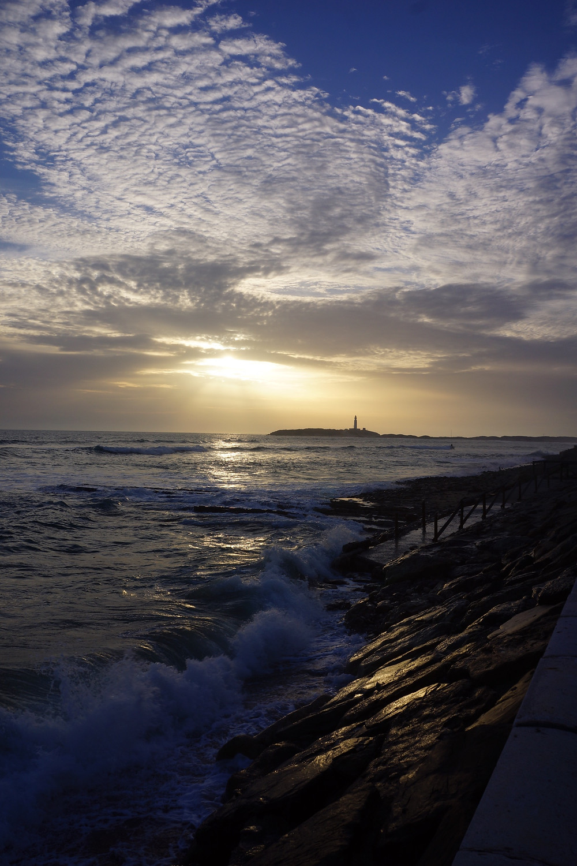 Sunset, Trafalgar lighthouse in the distance