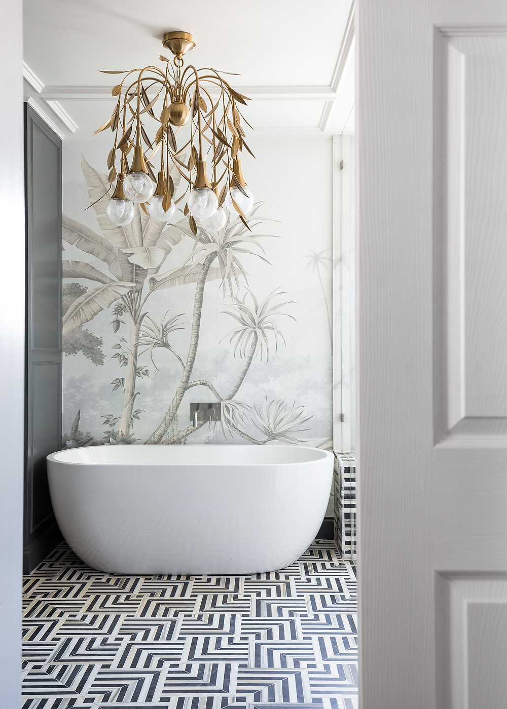 Master Bathroom With Wallpaper, Freestanding Tub And Black And White Marble Tile By Kelly Wearstler