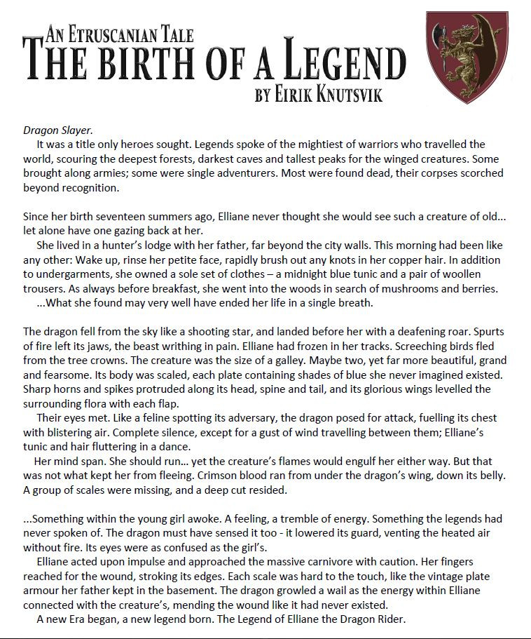 The Birth of a Legend, how a young girl faces a dragon