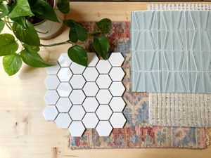 gloss white hex tile and blue glass geometric tile