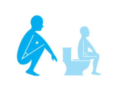 Comparing the upright sitting and squat position on the toilet