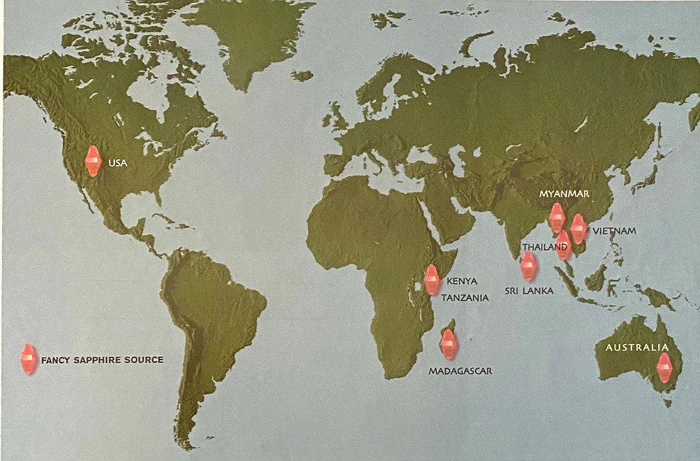 a world map showing fancy sapphire sources indicated by red crystals