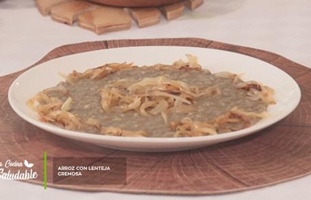 Prepara esta saludable receta de Arroz con lenteja cremosa