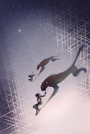Two human figures leap across a starry field. One's shadow is a leopard, the other a hound.