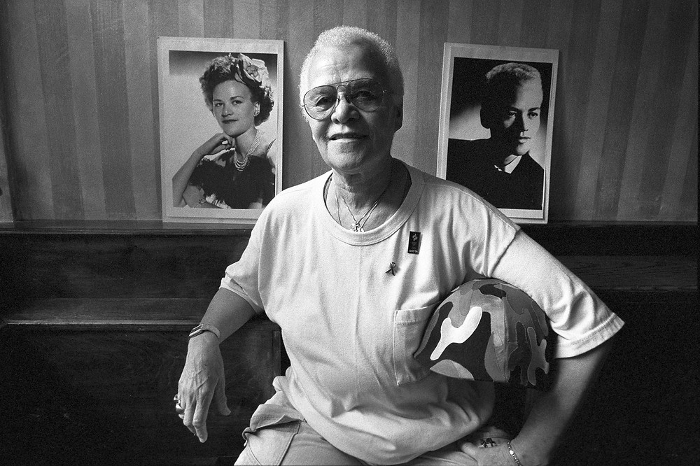 black and white photo of drag entertainer and gay rights activist Stormé DeLarverie