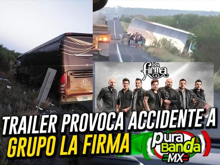 Trailer provoca accidente al autobús del Grupo La Firma