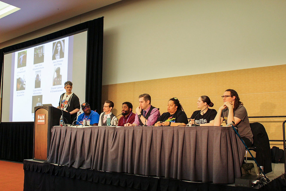 """A Seat for Everyone: Inclusivity & RPGs"" panel members at PAX East 2019"