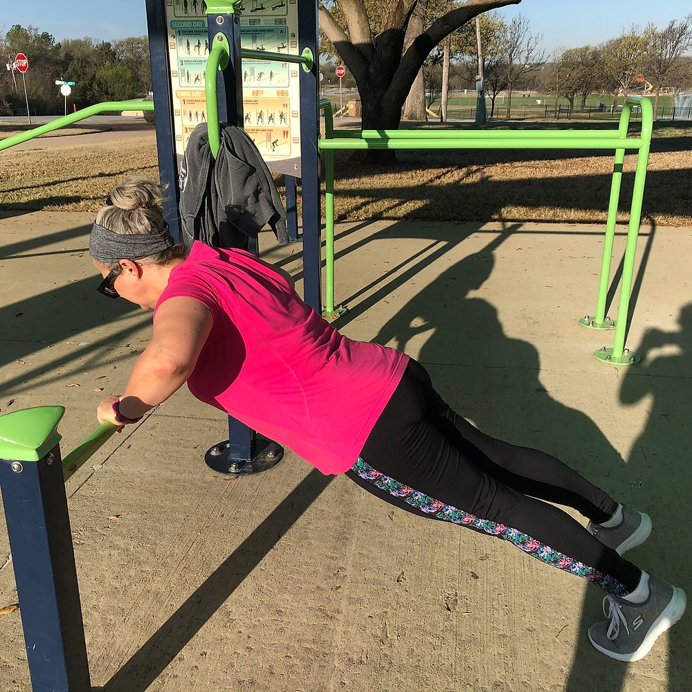 """This is Heidi doing a workout on her one-year """"fitness anniversary""""."""