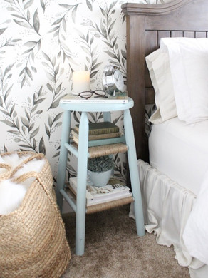 Repurpose an Old Wood Stool as a Nightstand