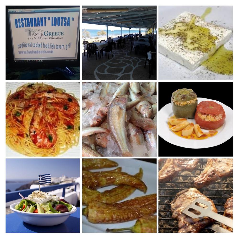 Μερικά από τα πιάτα μας και τοπία από το εστιατόριο Λούτσα