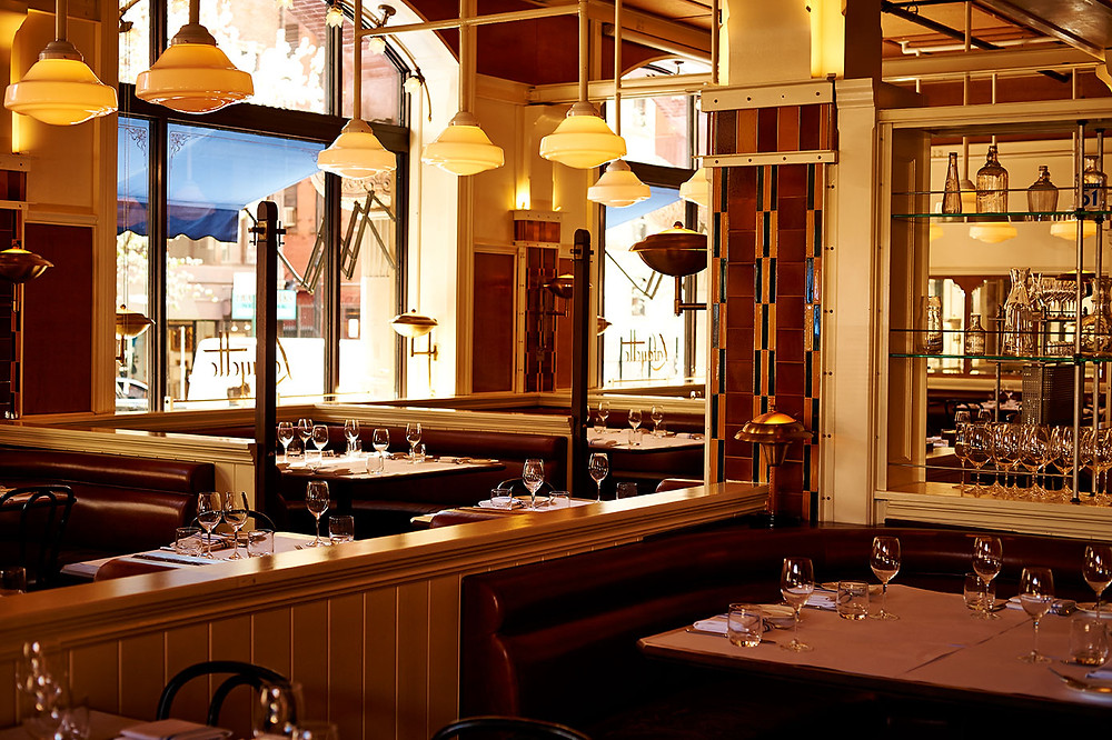 restaurant design, classic American restaurant, pendant lights, interior design, architecture, architectural design, Roman and Williams, pony wall