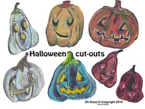 pumpkins jack-o-lantern cut-outs on sticks
