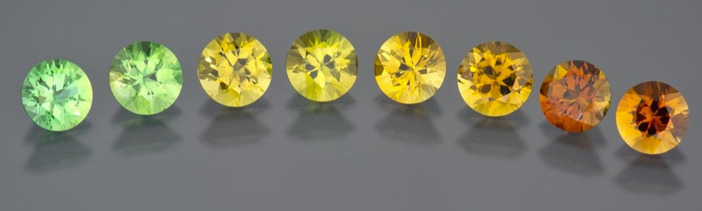 Minerals found in the ground and earth around the tourmaline deposits are thought to determine the colour of this often-three-sided prism shaped gems, with magnesium creating black and bluish-black gems, while magnesium-rich stones are brown to yellow.