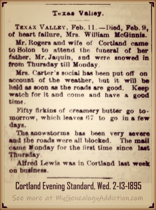 Catherine (Smith) McGinnis 1895 obituary