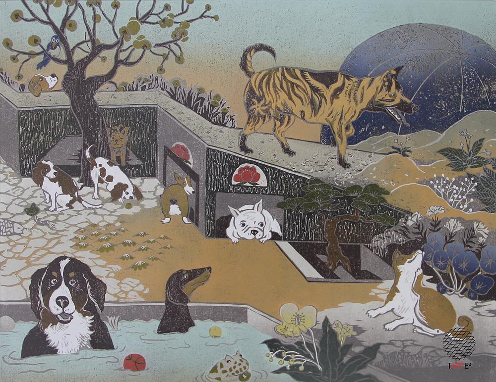 許以璇的《汪星球─10犬10美》木刻版畫
