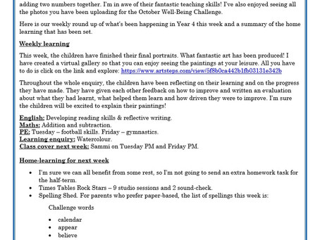 Year 4 Weekly Letter 23/10/20
