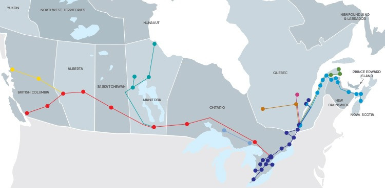 Map of Train Routes Available for Traveling Around Canada from Via Rail