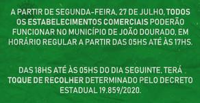 Atenção comerciantes e demais cidadãos de João Dourado!  Decreto do dia 27 de Julho.