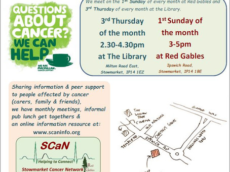 Cake, Cancer & Coffee now Meet on the 1st Sunday & 3rd Thursday each month