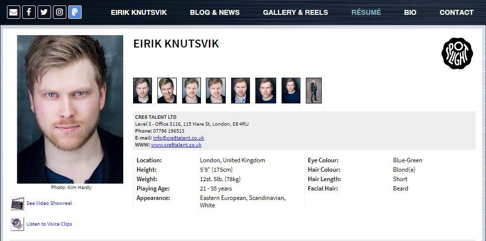 Actor's resume / CV on Eirik Knutsvik's website
