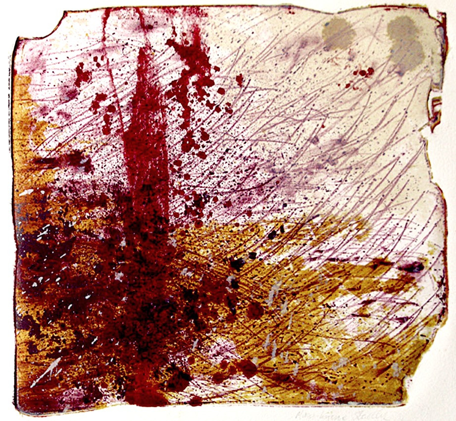 An almost square image showing an abstract landscape in reds and yellow ochre colours. The image has a broken outline, created by the chipped and damaged edges of the stone that it was created on in the stone lithography process. There are many different qualities of mark in th image. Very fine strokes in the upper right suggest wind, while the more solid red elements and darker red blotches are suggestive of a tree and fallen leaves.