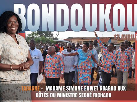 TABAGNE LA GRANDE FÊTE : MADAME SIMONE EHIVET GBAGBO AUX CÔTÉS DU MINISTRE SECRÉ RICHARD