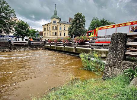 Zahlreiche Hochwassereinsätze für die Feuerwehren der Stadt Bad Aibling