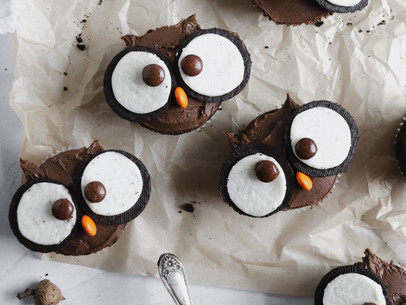 Double Chocolate Owl Cupcakes (GF, Paleo Friendly)