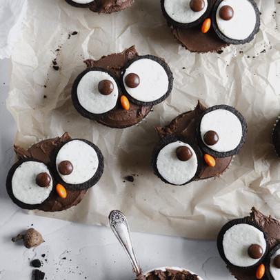 Double Chocolate Owl Cupcakes (GF, Paleo Friendly)