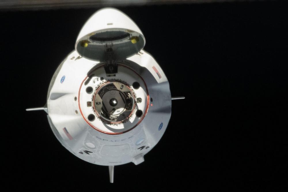 Crew Dragon near ISS - NASA astronaut Chris Cassidy