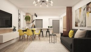 Open-space concept that is one of the ways for decorating small apartments