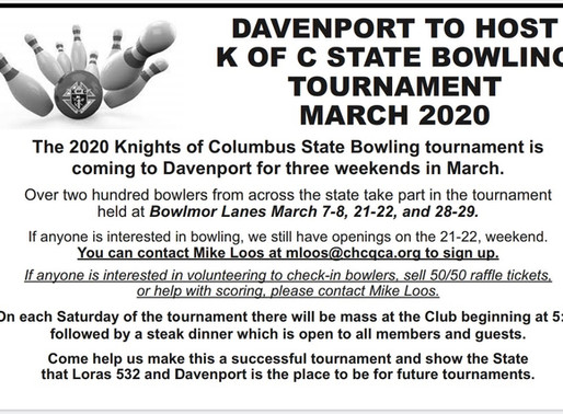 Iowa KofC State Bowling Tournament in Davenport!