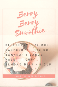 blueberry raspberry banana kale smoothie
