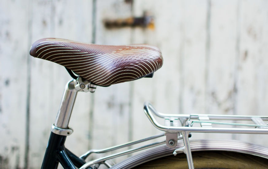 Leather engraved bike seat