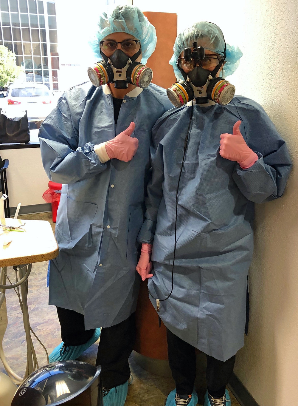 Personal Protective Equipment used in dental office to protect staff members and prevent patients from being exposed