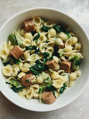 Sausage Pasta with Green Olives.