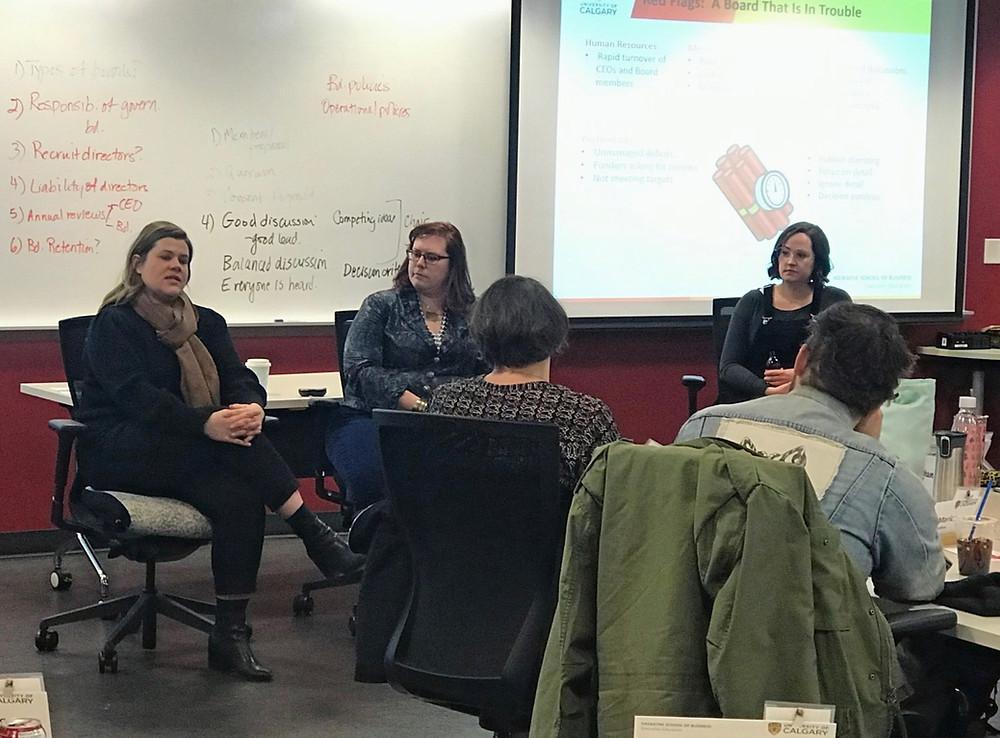 Sara Leishman and Tara Owen speak to RAMP participants about Fund Development at U of C's Haskane School of Business