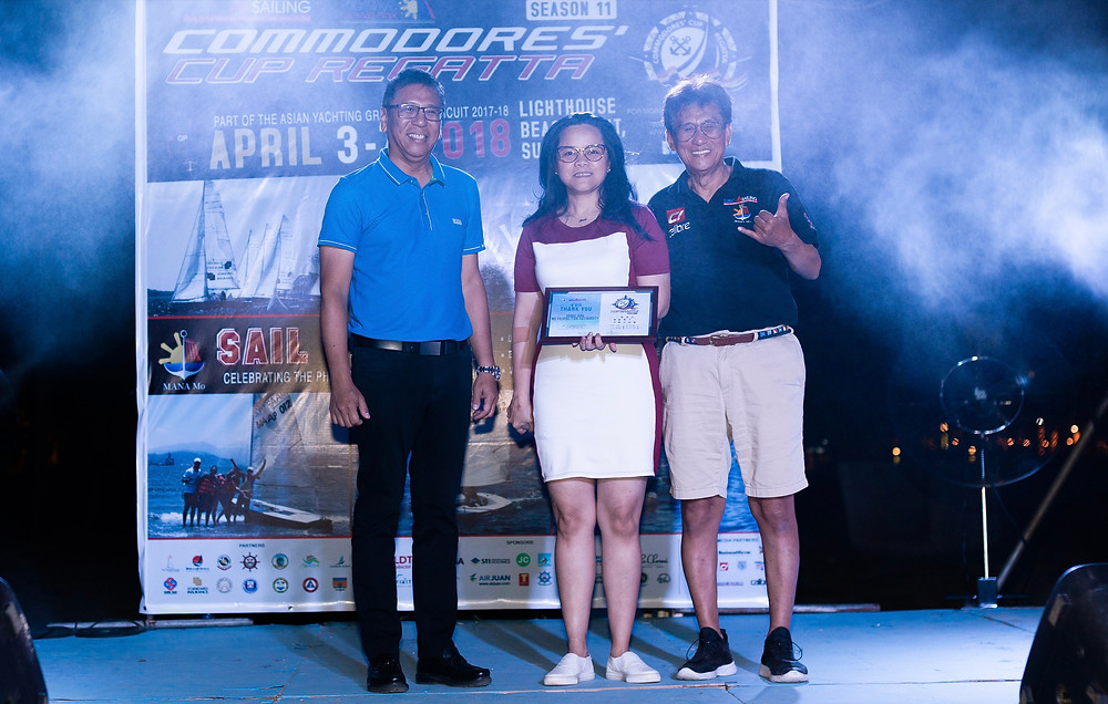 "Co-Chairmen of Subic Sailing Club, Congressman Ricky Sandoval and Jun Avecilla with Chairperson and Administrator of SBMA, Atty. Wilma ""Amy"" Eisma during the final awarding of CCR 2018"