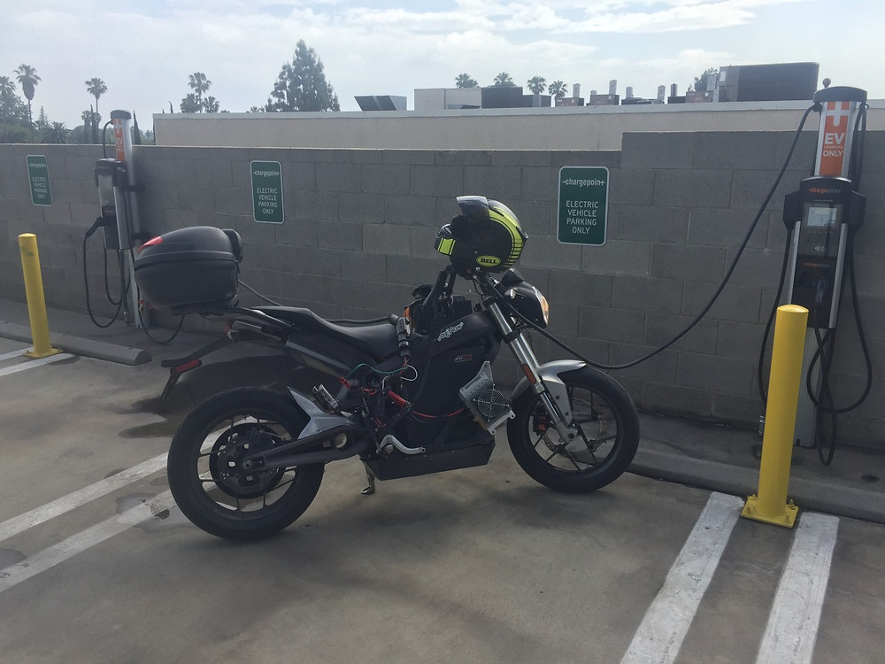 Morgan Vetter and Brandon Miller Race from LA on electric motorcycles Zero charging from charge point